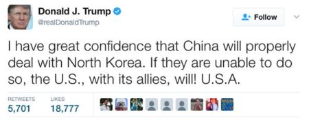 trump north korea tweet