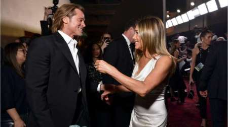 Brad and Jen Together Backstage at SAG Awards! In other news, children still going hungry...